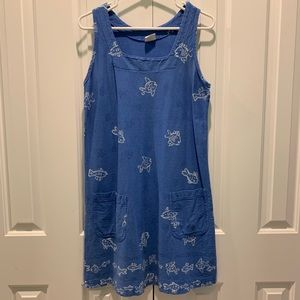 On White. Cute Blue Fish Dress. Women's Size Small